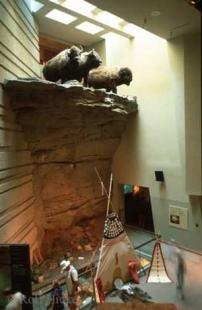 photo of head smashed in Buffalo Jump Display Visitor Center