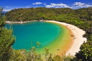 photo of Aerial View Te Pukatea Bay Beach Abel Tasman National Park NZ