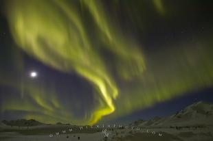 photo of Aurora Borealis Dempster Full Moon