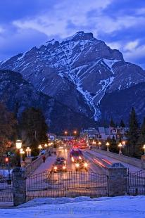 photo of Banff Avenue Cascade Mountain Dusk Winter Picture