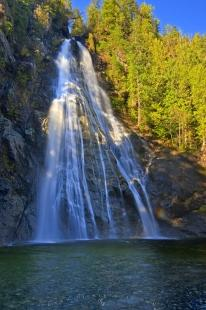 photo of Fan Formation Waterfall Beautiful Scenic Forest Picture
