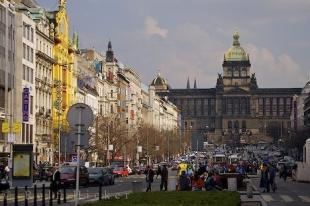 photo of Busy Street Wenceslas Square Historic Prague Buildings