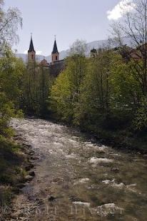 photo of Church Spires Riverbanks Bruneck Town Italy