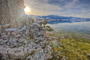 photo of Dramatic Tufa Lake Sun Scenery