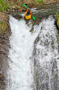 photo of Kayaker Waterfall Edge Extreme Kayaking Pictures