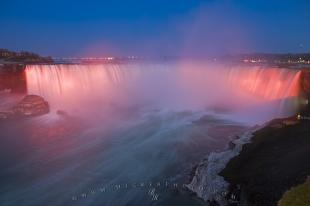 photo of Horseshoe Falls Illumination Niagara River Ontario Canada