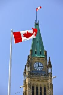 photo of Canadian Flag Parliament Building Ottawa Canada