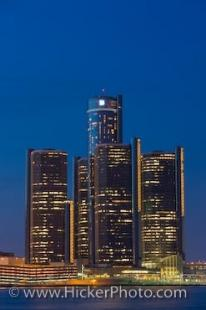 photo of GM Building Skyline Detroit Michigan USA