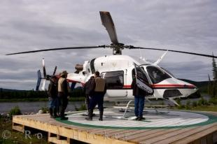 photo of Helicopter Rifflin Hitch Lodge Fishermen Southern Labrador
