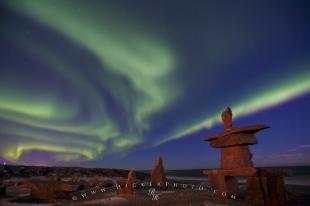 photo of Inukshuk Aurora Borealis Hudson Bay