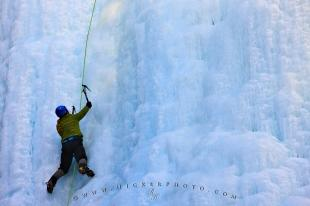 photo of Ice Climber Frozen Waterfall