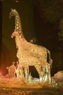 photo of animal ice carving
