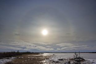 photo of Winter Halo Around Sun Lake Iwago Churchill Manitoba