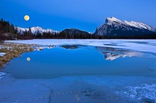photo of Mount Rundle Winter Reflections 2nd Vermilion Lake Full Moon