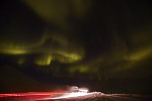 photo of northern lights road