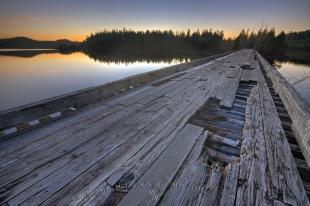photo of Old Wooden Bridge Scenic Sunset Photo