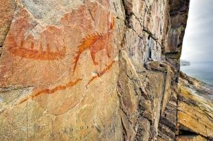 photo of Pictographs Agawa Rock Lake Superior Provincial Park Ontario Canada