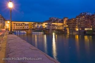 photo of Dusk Ponte Vecchio Bridge Arno River Florence Tuscany Italy