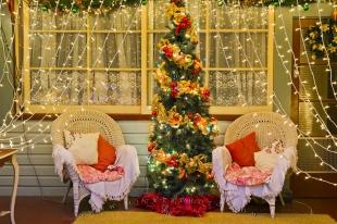 photo of Elegant Decorated Christmas Lights And Tree Scene