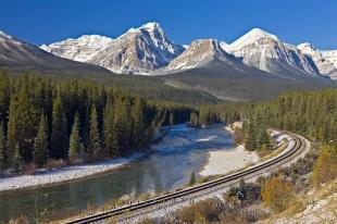photo of Railway Tracks Winter Scenery Banff National Park