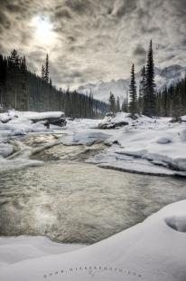 photo of Mistaya River Rocky Mountain Winter Scenery