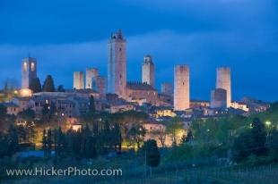 photo of San Gimignano Skyline At Dusk Siena Tuscany Italy