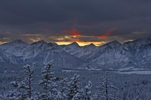 photo of Waterton Lakes National Park Winter Scenic Sunset Picture