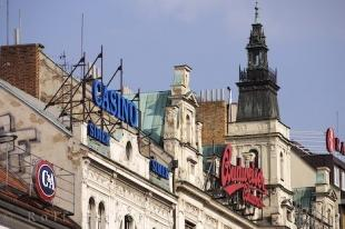 photo of Wenceslas Square Shop Signs Downtown Prague