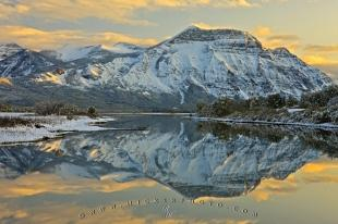 photo of Winter Landscape Mountain Reflections Waterton