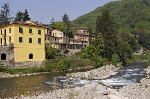 photo of the albergo corona hotel along the banks of the lima river in bagni di lucca in tuscany italy in europe
