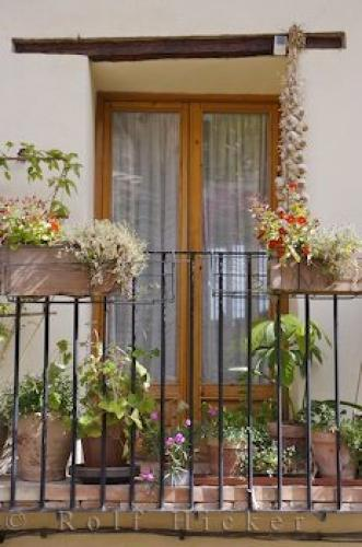 Balcony Flower Pots Morella House Valencia Spain