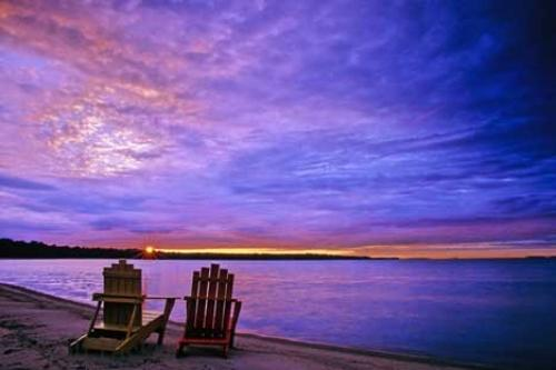 Photo of two beach chairs on Lake Huron with a beautiful sunset in Ontario Canada & Beach Chairs | Photo Information