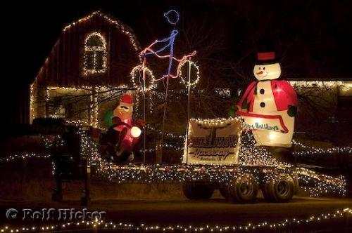 photo of pretty christmas lights used to decorate a truck and house in utah usa