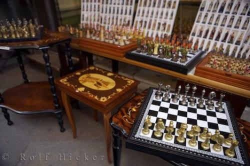 Crafted Chess Sets Market Stall Venice Italy Photo Information