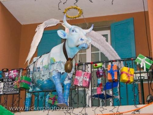 funny picture of a cow angel and christmas decorations on a balcony in the city of zurich switzerland europe