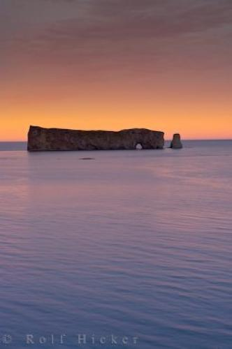 Perce Rock Sunset Gaspesie Peninsula Quebec
