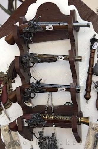 Pistol Display Karlstein Village Shop Czech Republic