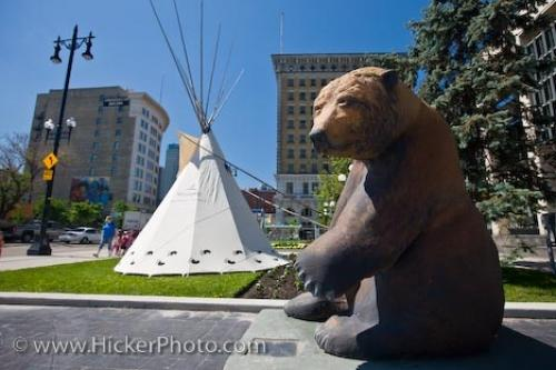 Photo:  The Pondering Grizzly City Hall Winnipeg Manitoba Canada