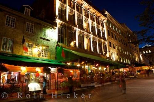 Photo Of The Restaurants That Line Square Place Jacques Cartier In Old Montreal Quebec At Night