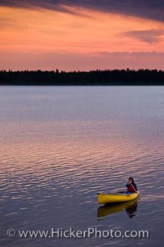 Sunset Canoe Lake Audy Riding Mountain National Park Manitoba Canada