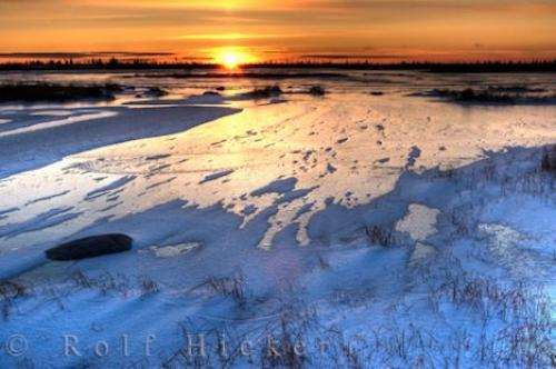 Sunset Landscape Frozen Lake Churchill Manitoba