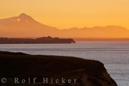 Mt Taranaki Volcano Sunset Scenery New Zealand