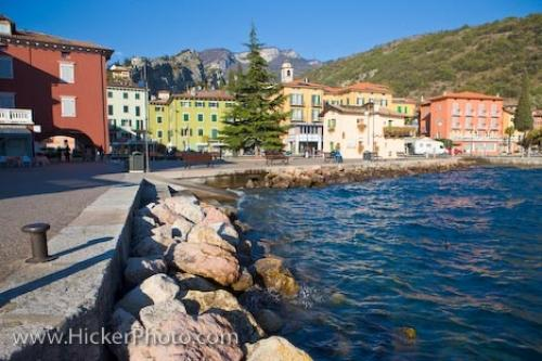 Waterfront Buildings Torbole Town Lake Garda Italy