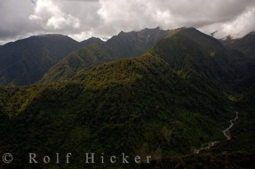 Photo:  Aerial Picture Westland National Park Mountains New Zealand