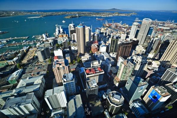 Auckland City Aerial Waitemata Harbour