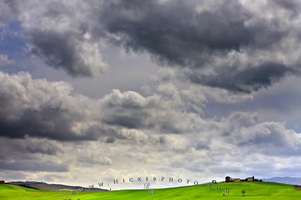 Country Landscape Storm Clouds Tuscany Europe
