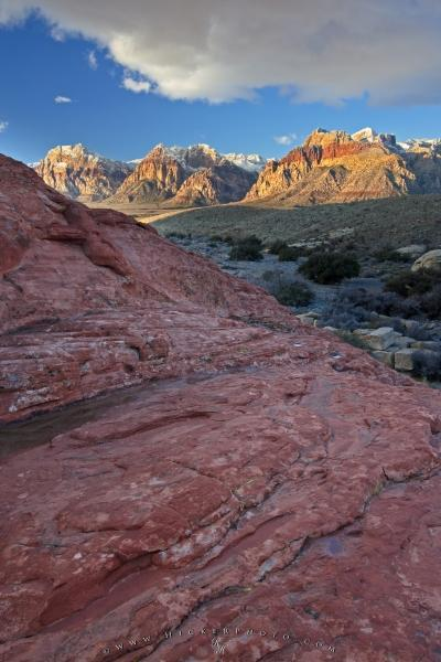 Photo:  Desert Landscape Snow Covered Mountains