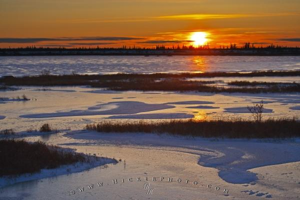 Frozen Lake Winter Sunset Churchill Manitoba