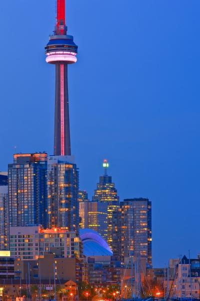 Photo:  High Rise Buildings Skyline Twilight CN Tower Toronto Picture