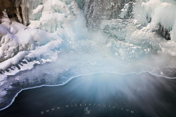 Photo:  Beautiful Ice Formations Partially Frozen Waterfall Picture